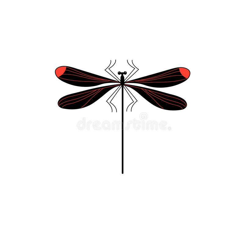 Vector symbol of isolated dragonfly stock illustration