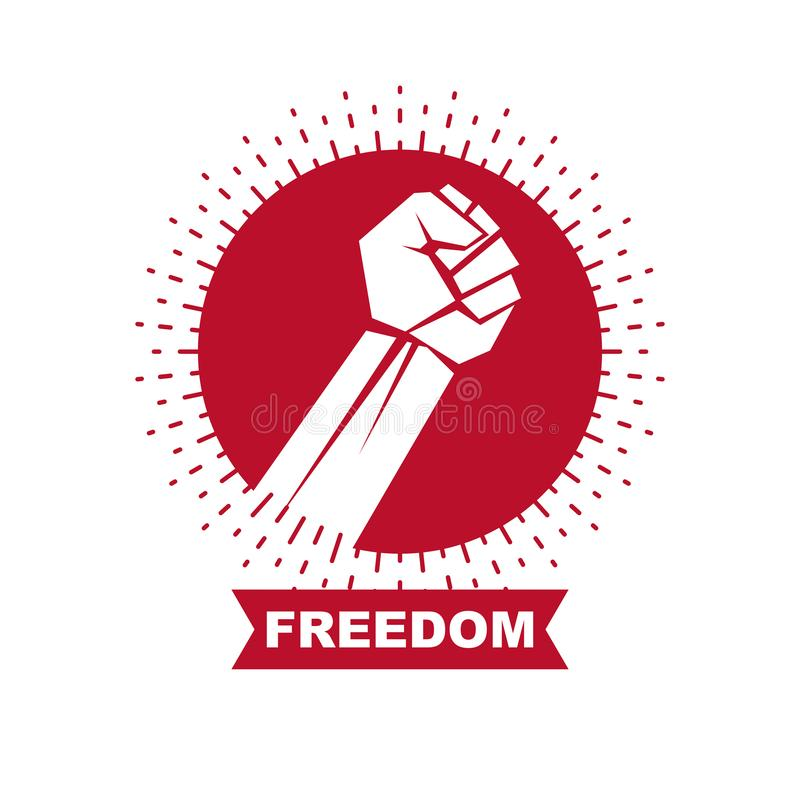 Vector symbol made with raised arm of a muscular male. Power and authority conceptual logo vector illustration