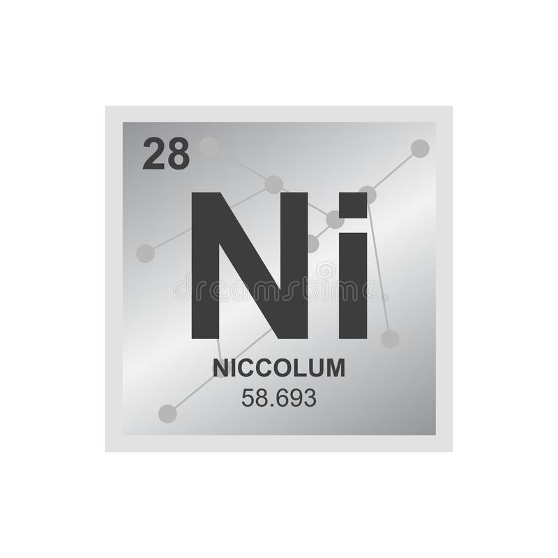 Vector symbol of nickel on the background from connected molecules stock illustration