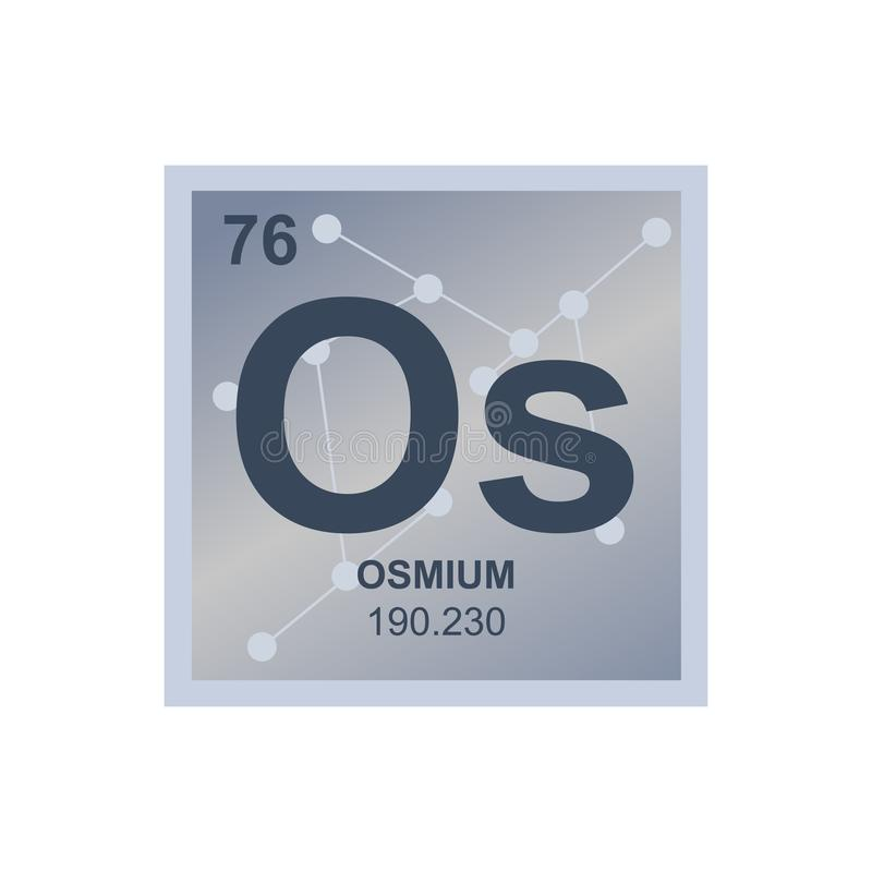 Vector isolated chemical symbol of metal osmium from the periodic table of the elements on the background from connected molecules vector illustration