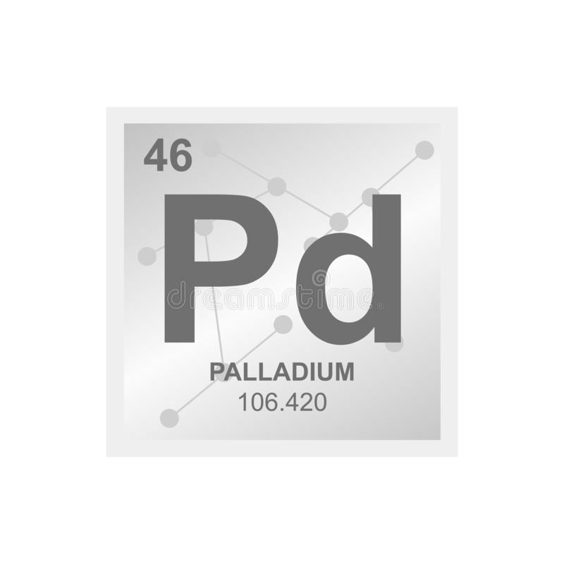 Vector symbol of palladium on the background from connected molecules vector illustration
