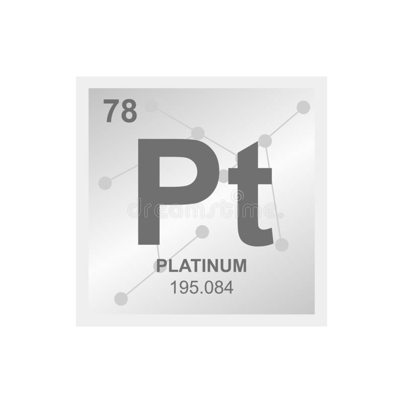 Vector symbol of platinum on the background from connected molecules royalty free illustration