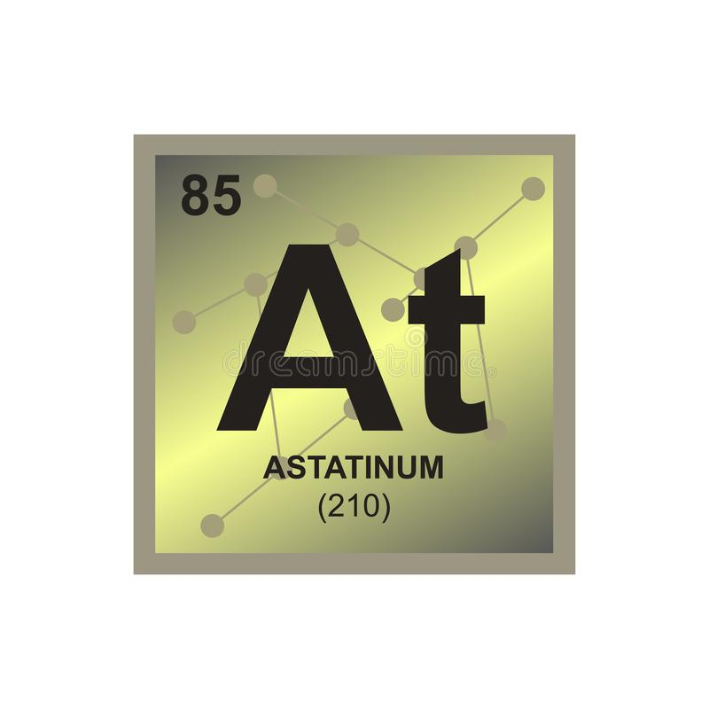 Vector symbol of radioactive element astatine on the background from connected molecules. stock illustration