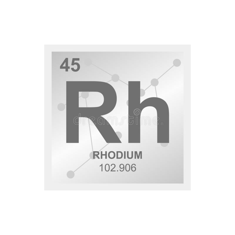 Vector symbol of rhodium on the background from connected molecules stock illustration