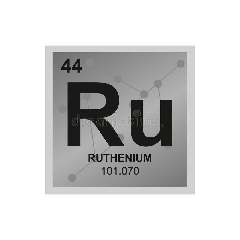 Vector symbol of ruthenium on the background from connected molecules stock illustration