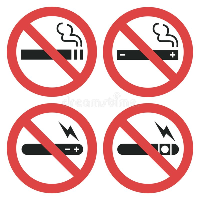 Vector symbol set - vaping forbidden, smoking electronic royalty free illustration