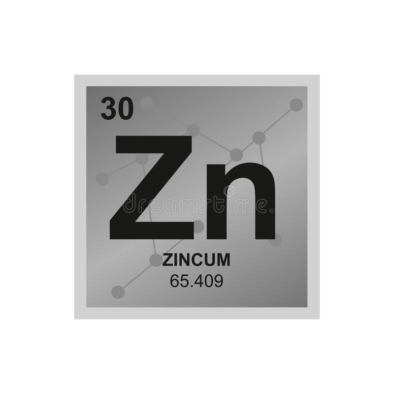 Vector symbol of zinc on the background from connected molecules stock illustration