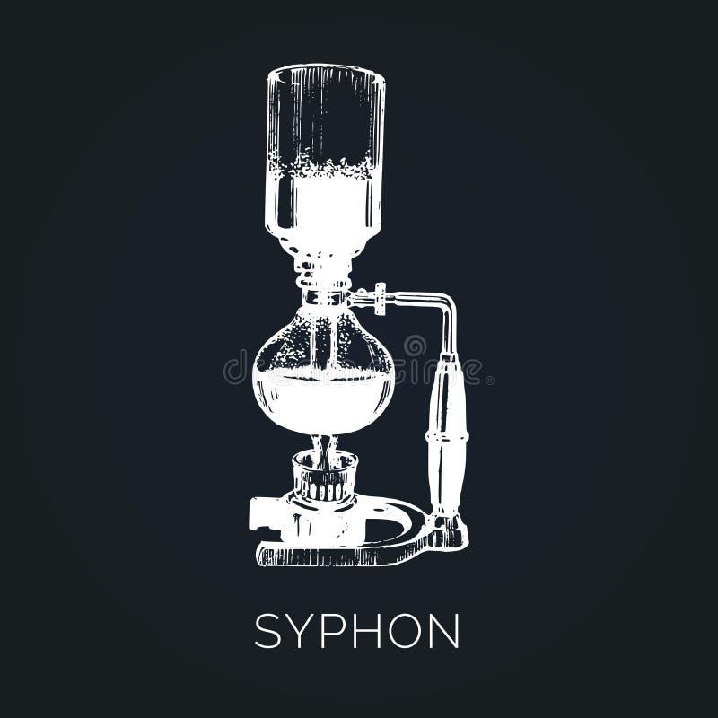 Vector Syphon illustration. Hand sketched maker for alternative coffee brewing. Cafe, restaurant menu design concept vector illustration