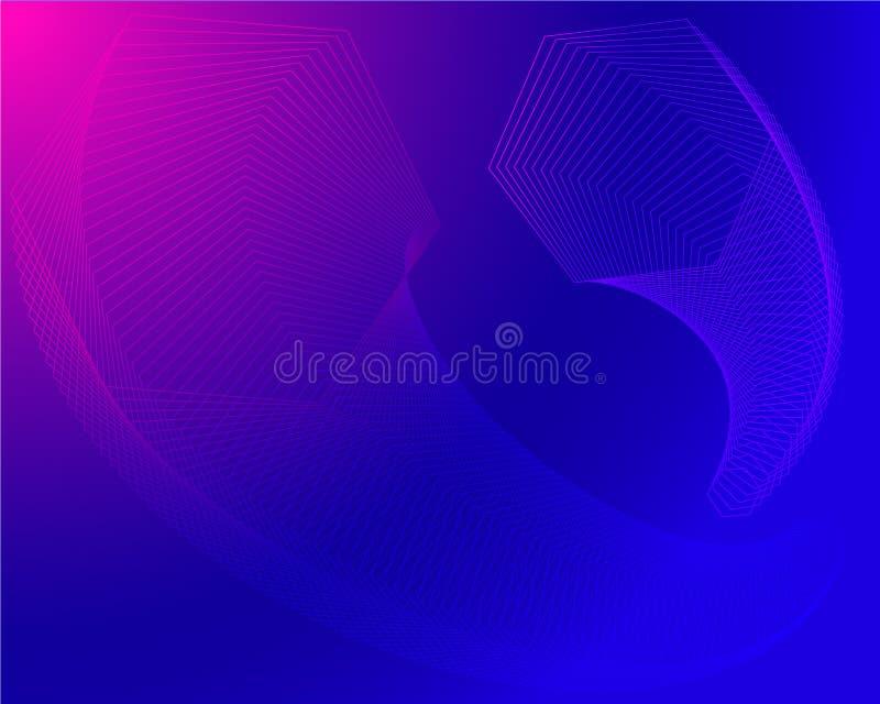 Vector técnico de las transiciones hexagonales elegantes brillantes modernas geométricas en púrpura rosada azul libre illustration