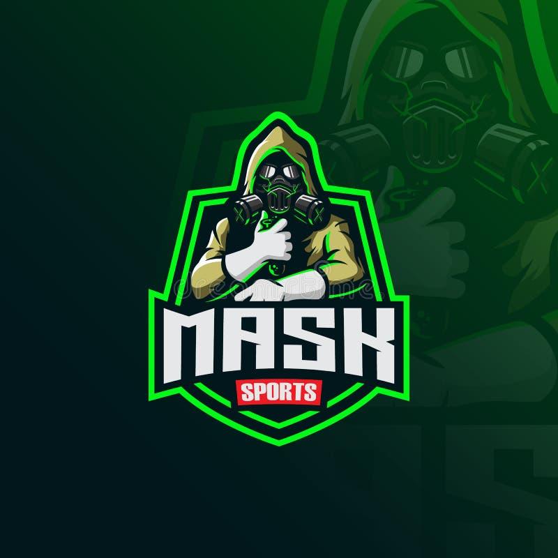 Vector tóxico del diseño del logotipo de la mascota del enmascarado con el estilo moderno del concepto del ejemplo para la impres stock de ilustración