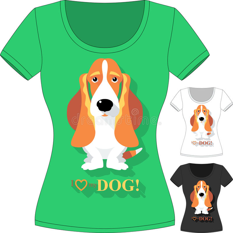 Vector T-shirt with dog Basset Hound vector illustration