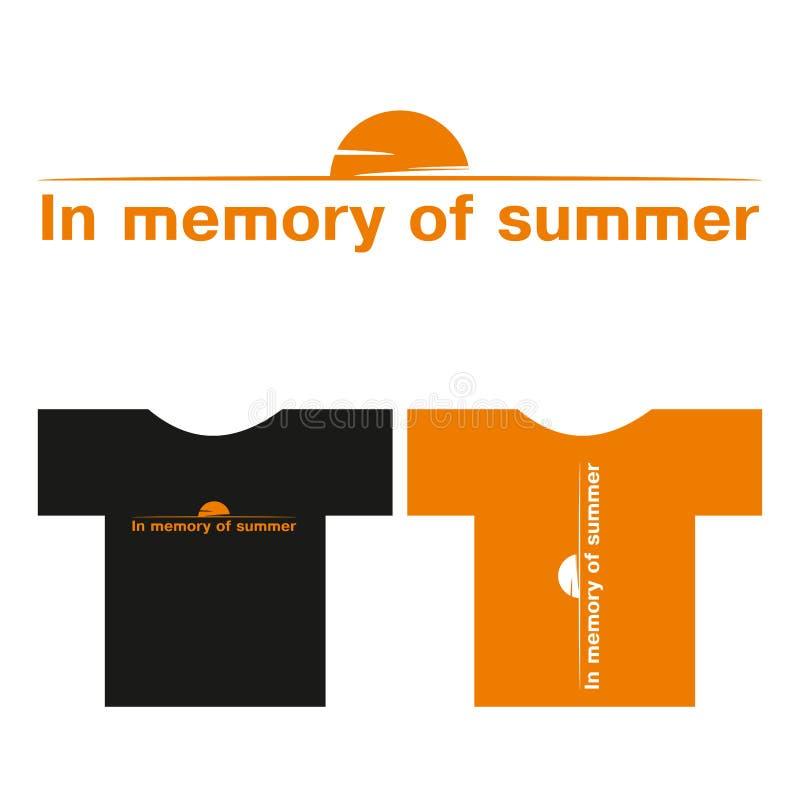 Vector t-shirt print inscription - in memory of summer vector illustration