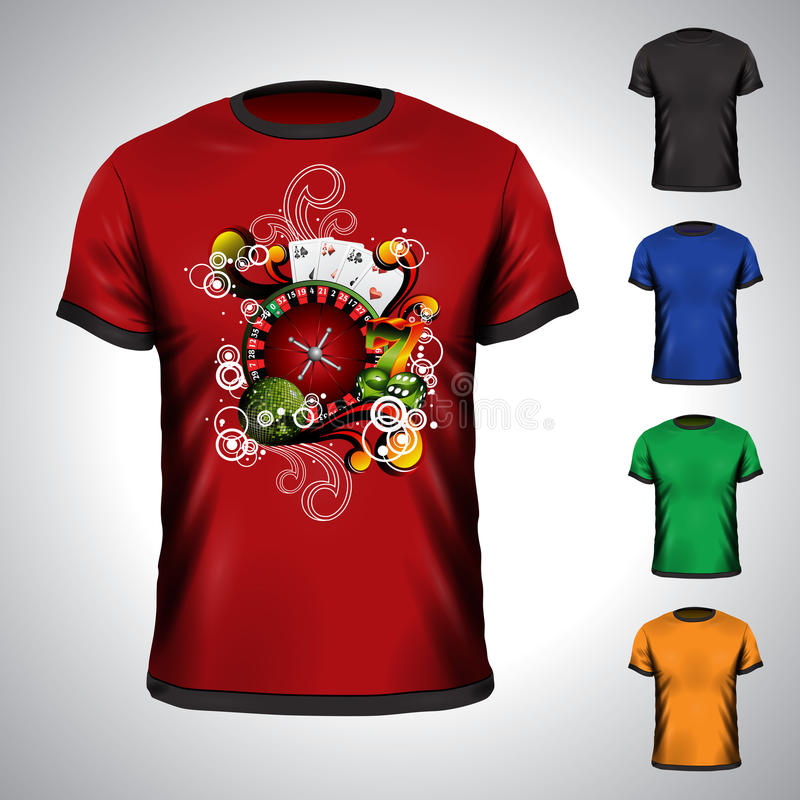 Vector t-shirt set on a casino theme vector illustration