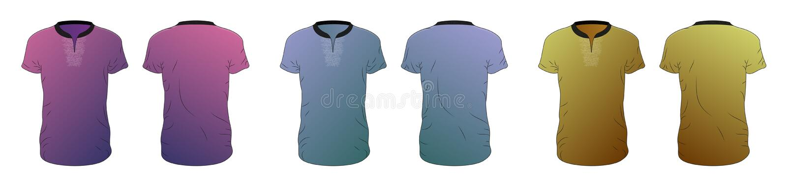 Vector T-shirt templates collection of different colors, vector eps10 illustration royalty free illustration