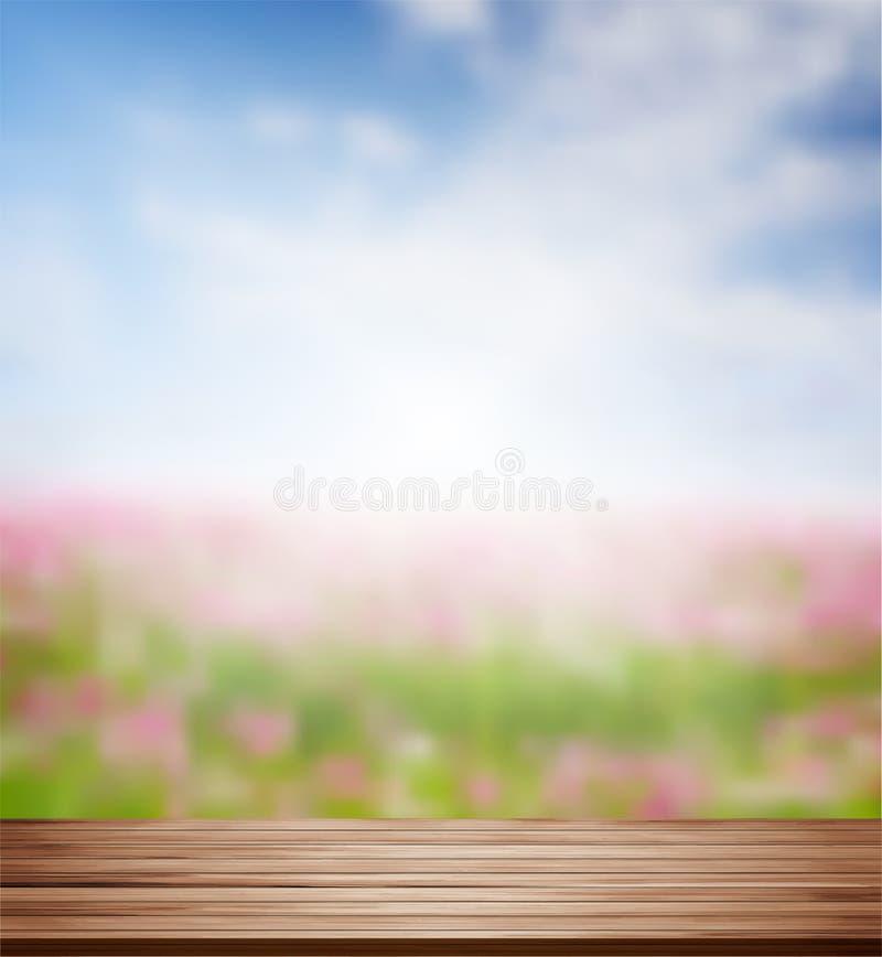 Vector a tabela de madeira da prateleira com a flor borrada do cosmos em um campo ilustração stock