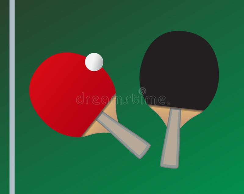 Vector Table tennis bats and ball with the thematic background stock illustration