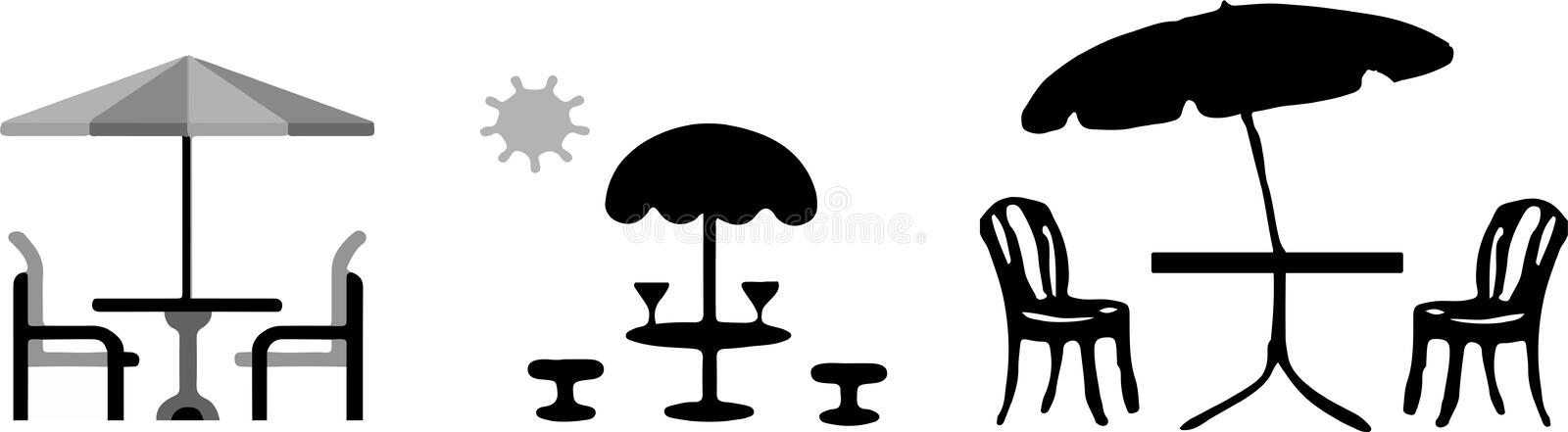 Vector table with umbrella isolated on white backgrou. Nd stock illustration