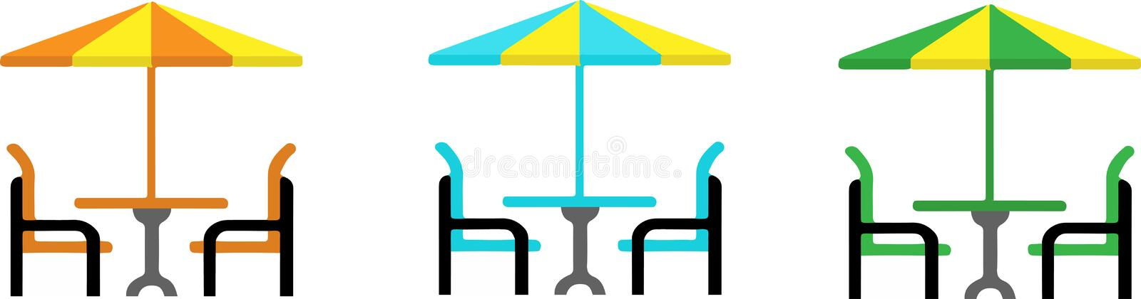 Vector table with umbrella isolated on white backgrou. Nd vector illustration