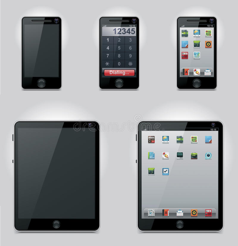 Vector tablet computer and mobile phone icons stock images