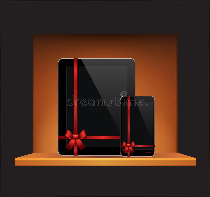 Vector Tablet Computer Mobile Phone with ribbon and bow in a gift on a shelf royalty free illustration