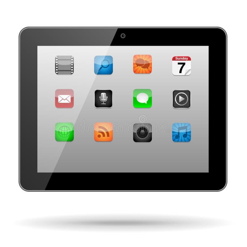 Tabuleta com ícones do App ilustração do vetor