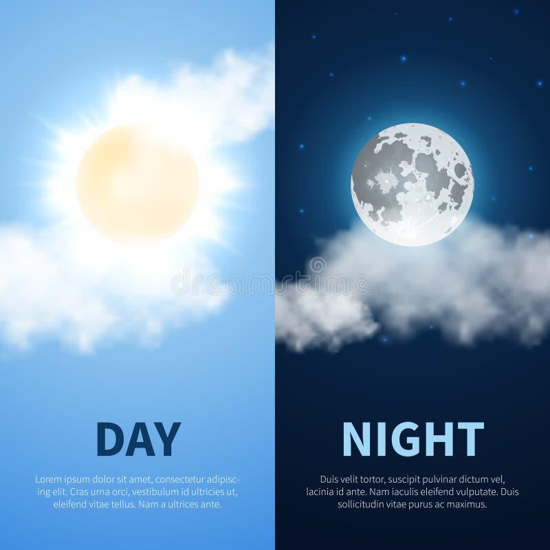 Vector Tag und Nacht Zeitkonzepthintergrund mit Sonnenmondikonen vektor abbildung