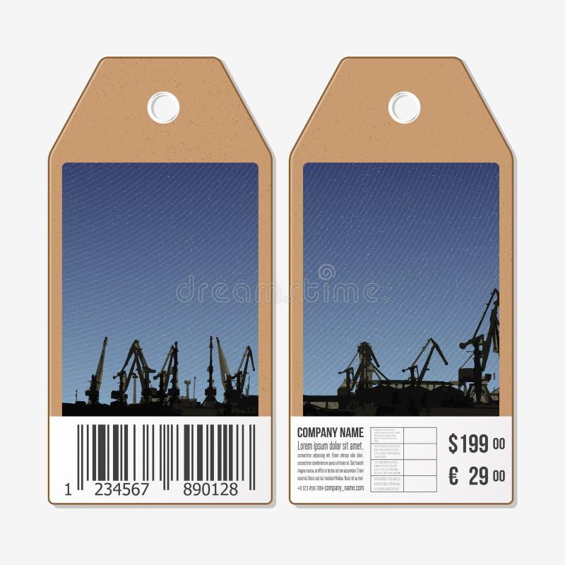 Vector tags design on both sides, cardboard sale labels with barcode. Shipyard and city landscape.  vector illustration