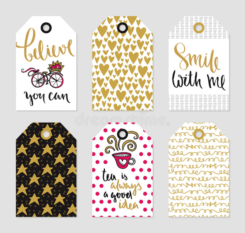 Vector tags set of love theme stock illustration