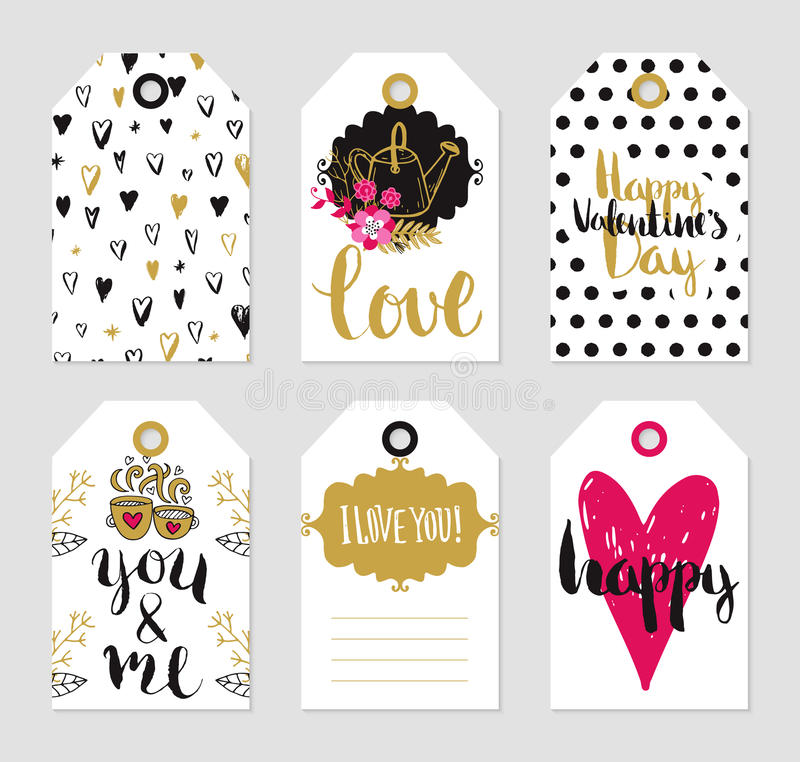 Vector tags set of love theme royalty free illustration