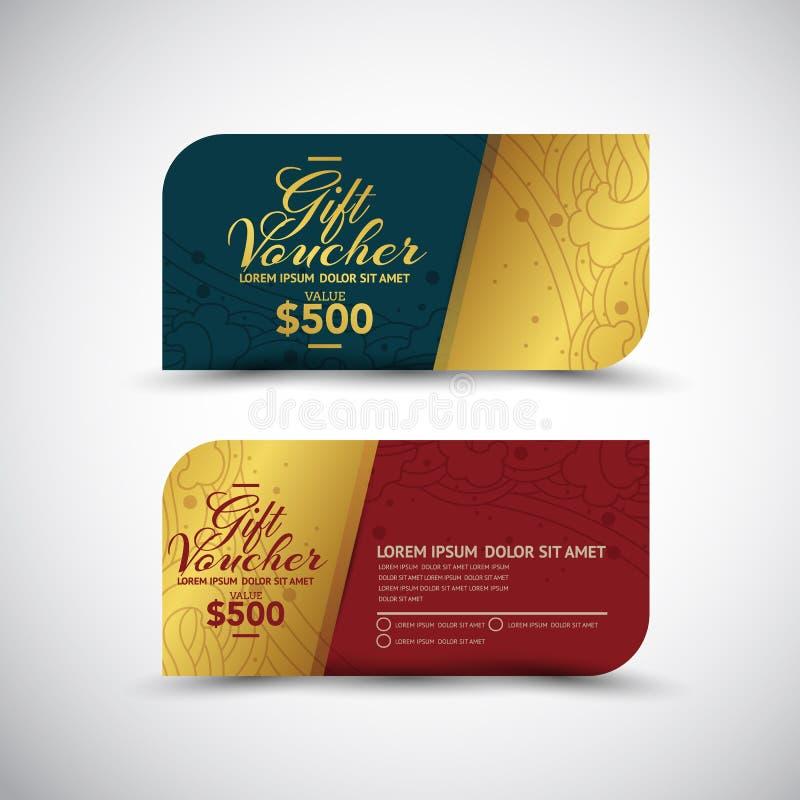 Vector tailandés del diseño de Art Gift Voucher stock de ilustración