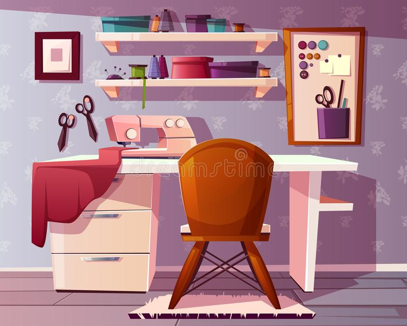 Vector tailor, seamstress room. Handicraft, needlework area stock illustration