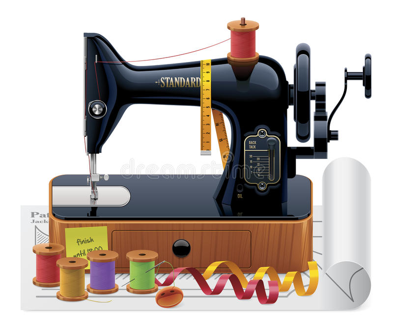 Vector tailoring icon. Detailed vector tailoring icon with old black sewing machine, thread spools, ribbons