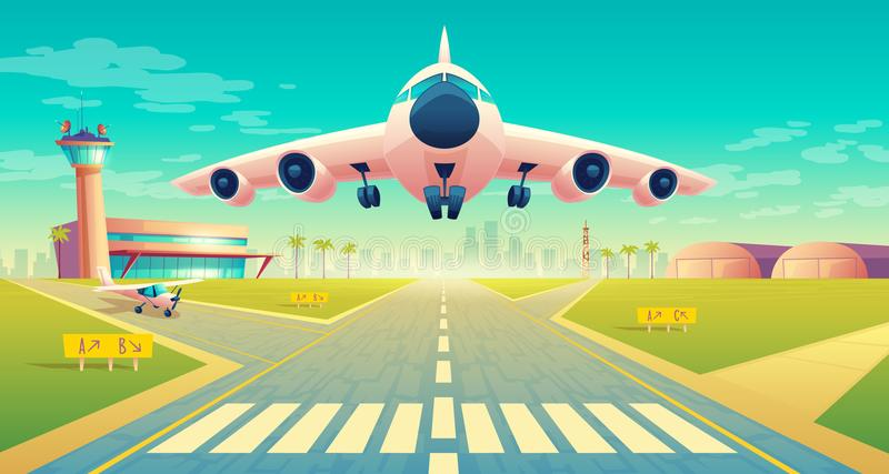 Vector takeoff of plane on landing strip. Vector takeoff of the plane on a landing strip for airplanes near of terminal, control room in tower. Asphalt runway royalty free illustration