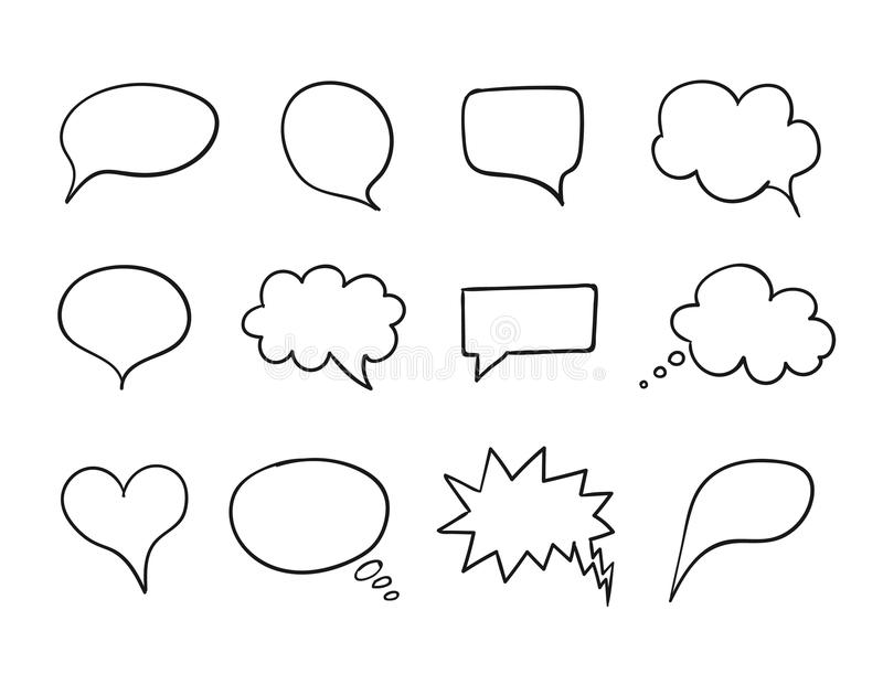 Vector Talk Bubble Set, Speech Box Collection, Hand Drawn Design Elements, Outline Drawings. Vector Talk Bubble Set, Speech Box Collection, Hand Drawn Design royalty free illustration