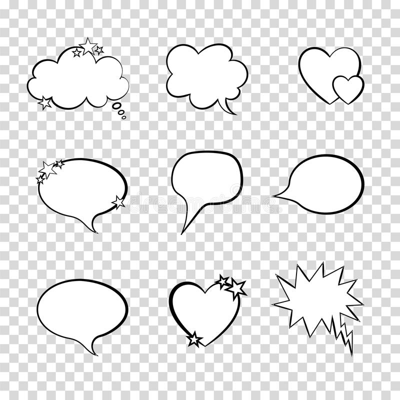 Vector Talk Bubbles Set on Transparent Background, Quote Frames Collection. stock illustration