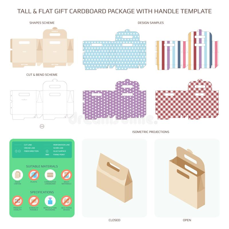 Vector tall and flat gift cardboard packaging with handle templates set.  stock illustration