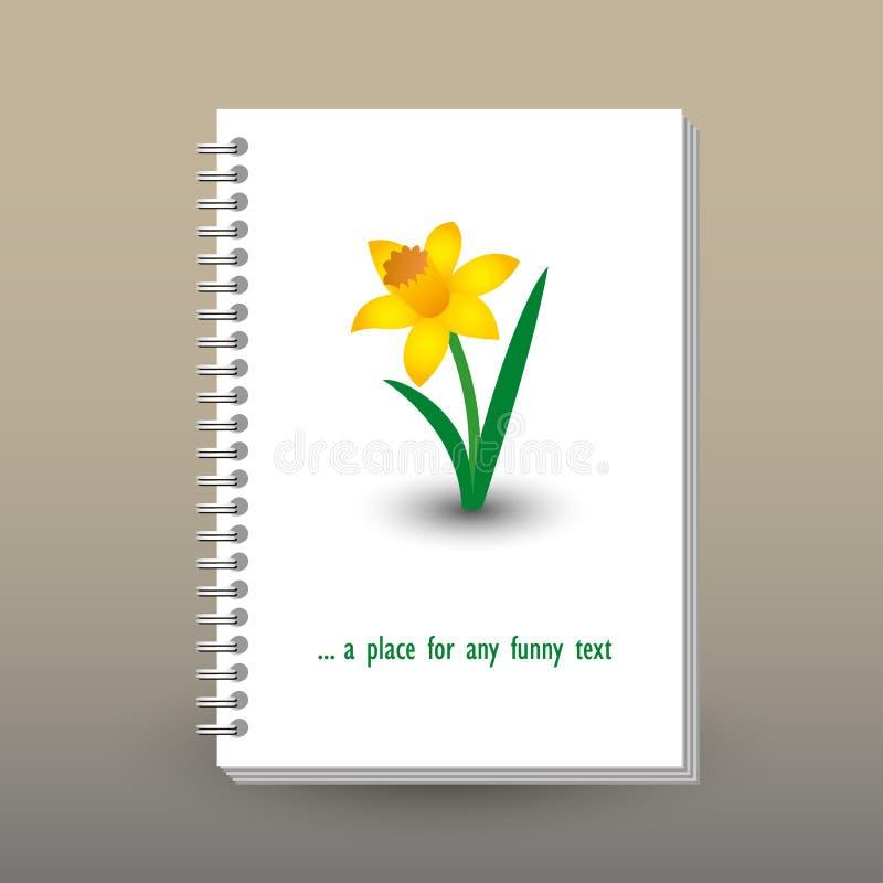 Vector a tampa do diário com pasta da espiral do anel - formato A5 - conceito do folheto da disposição - amarele o narciso colori ilustração stock