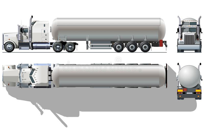Vector tanker semi-truck. Vector detailed tanker semi truck [ for branding royalty free illustration