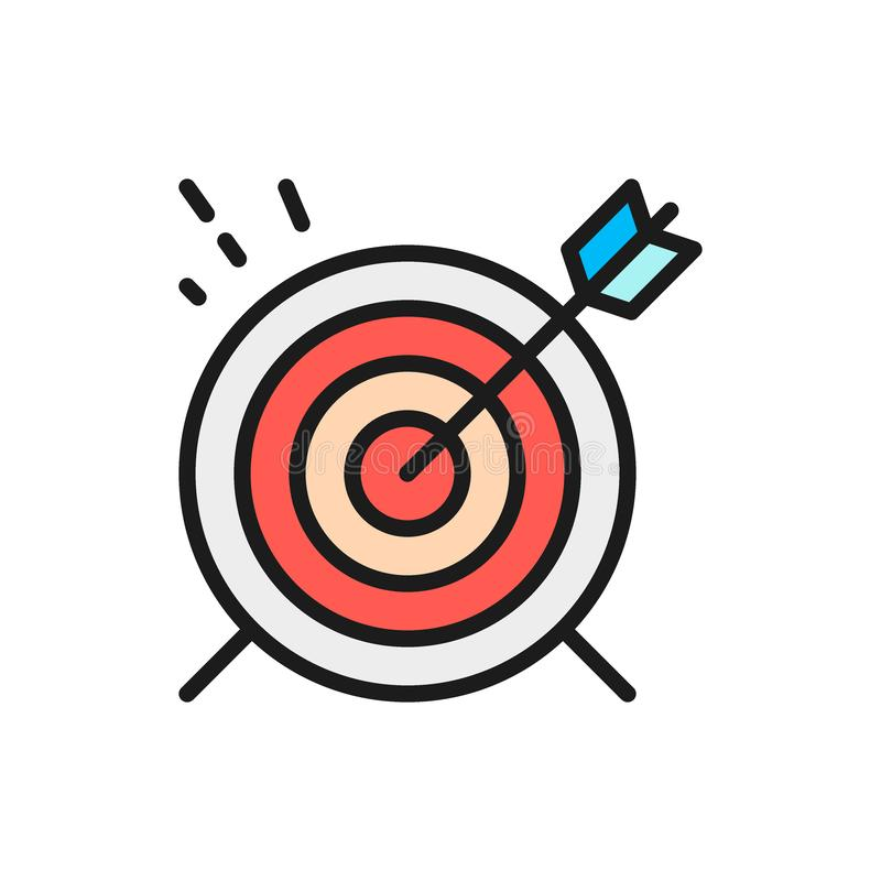 Vector target, goal flat color line icon. vector illustration
