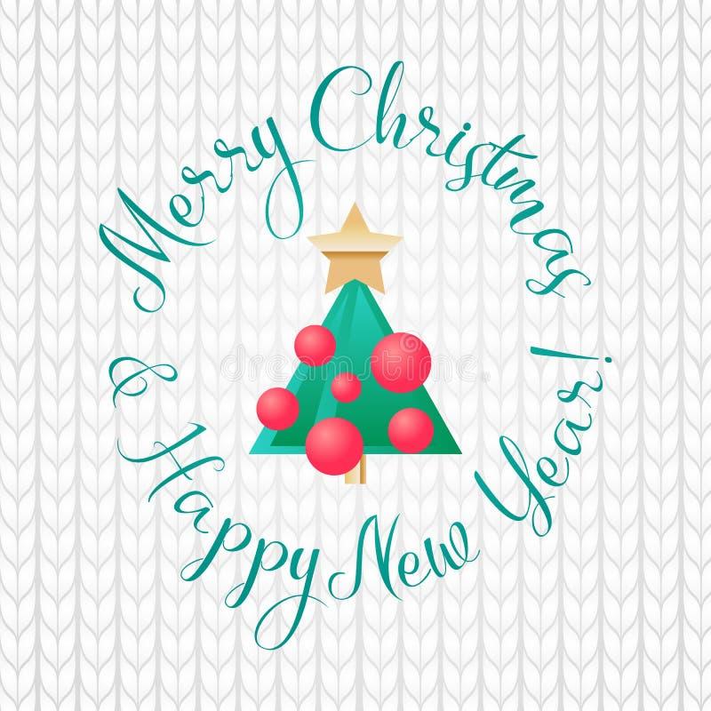 Vector tarjeta de felicitación de la Feliz Navidad y de la Feliz Año Nuevo árbol del verde de la historieta con las bolas y estre stock de ilustración