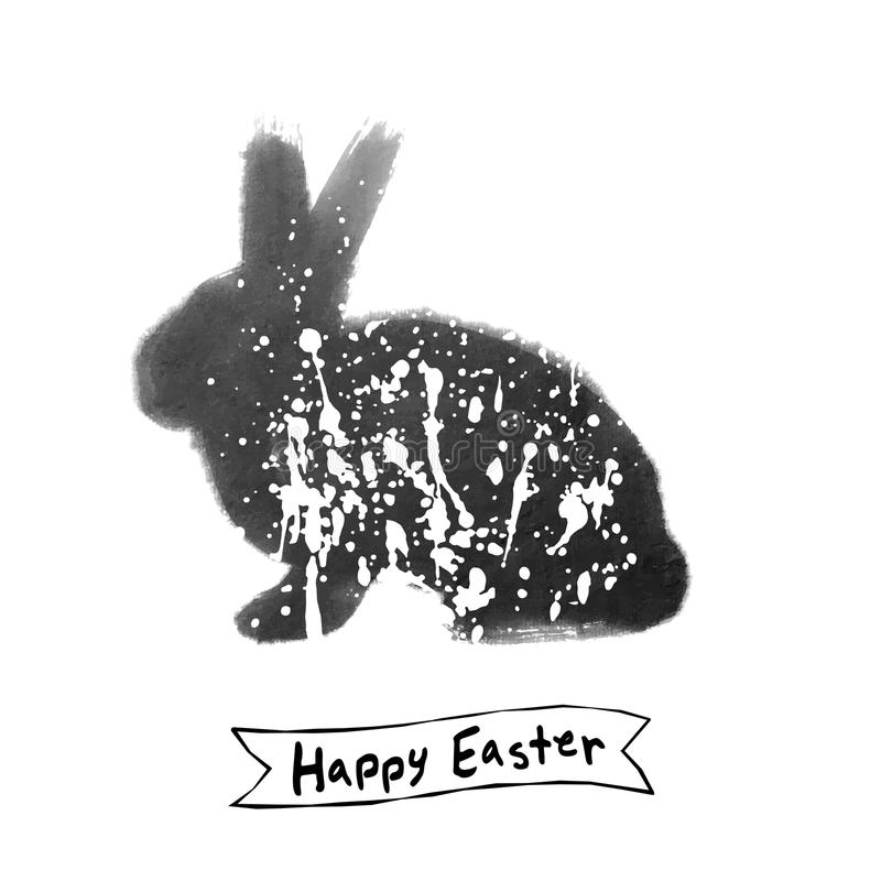Vector: Tarjeta de pascua con bosquejo del cepillo de la tinta del conejo imágenes de archivo libres de regalías