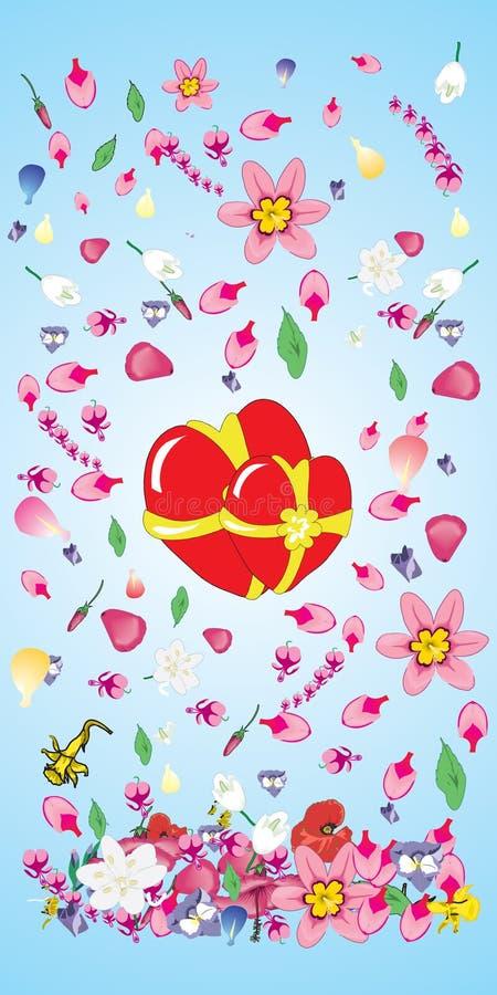 Vector, tarjeta del día de San Valentín, decoración, ornamento, pétalo, amor, illustrati stock de ilustración