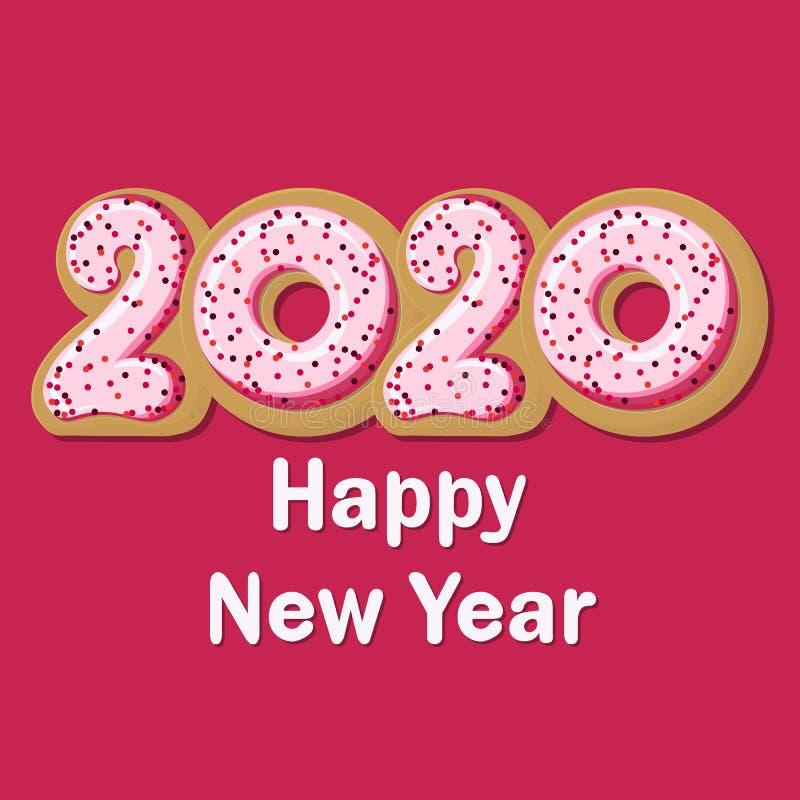 Vector tasty Greeting Card Happy New Donut 2020 vector illustration