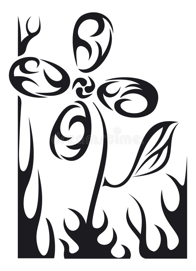 Vector tattoo flower royalty free stock images