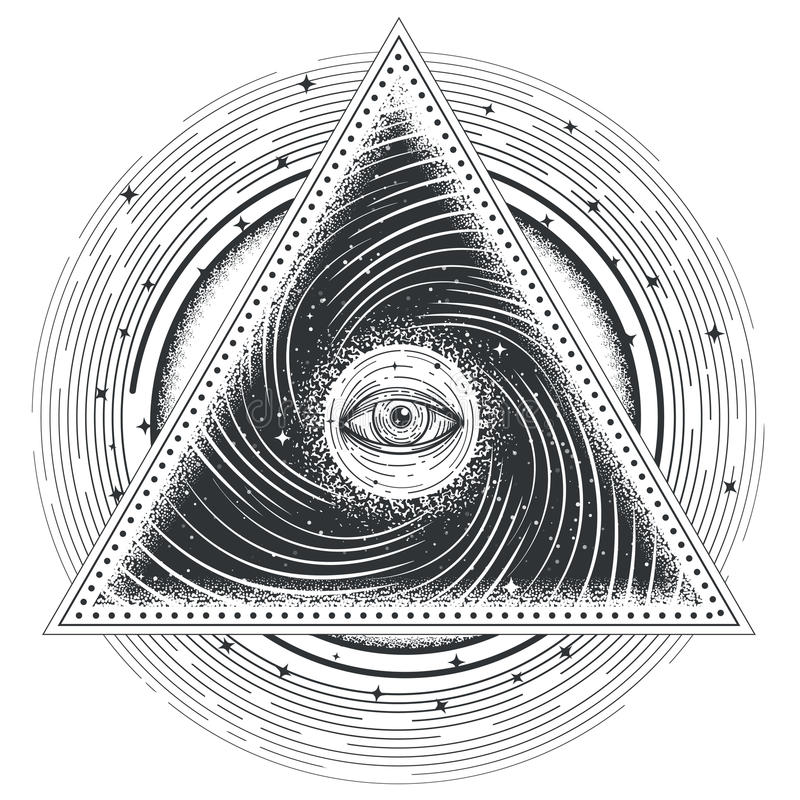Vector tattoo illustration abstract sacred geometry with an all-seeing eye. stock illustration