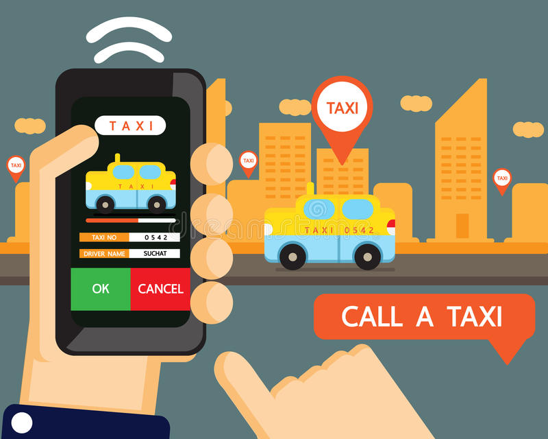 Vector : taxi application royalty free illustration