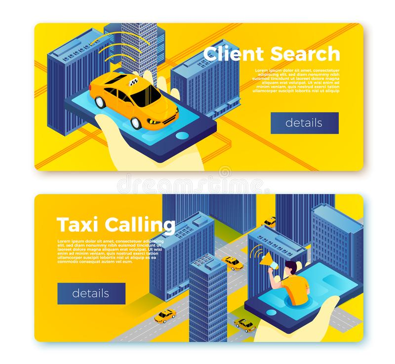 Vector taxi application service banner templates. Concept, hand with phone and car on it, man calling for cab . With place for your text royalty free illustration