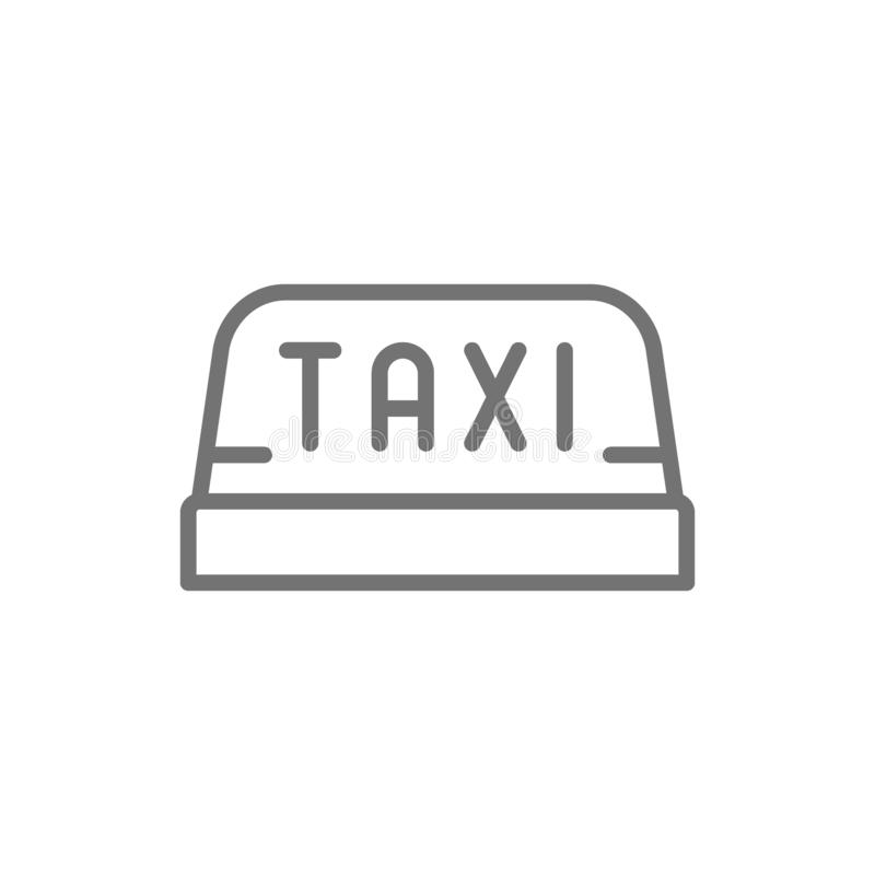Vector taxi car roof sign line icon. stock illustration