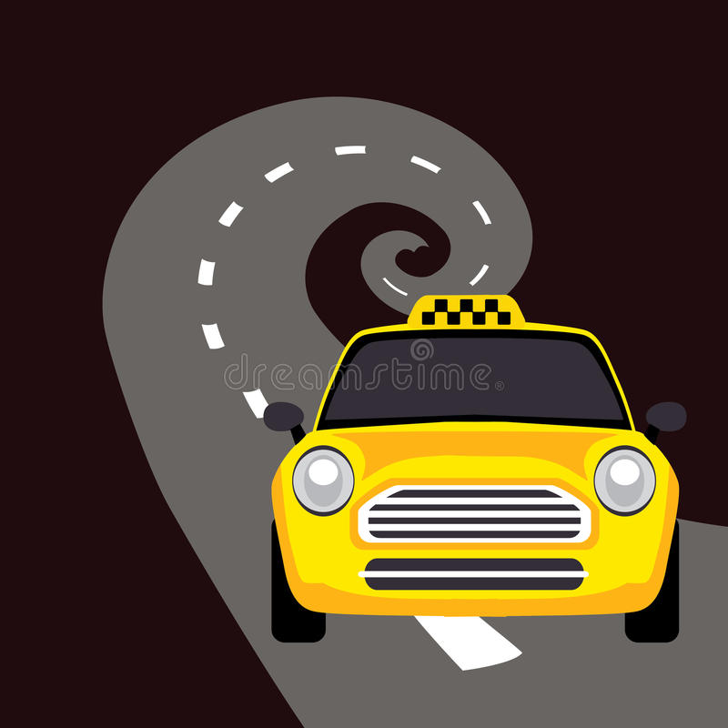 Vector of a taxi on the road. Vector illustration, of a taxi on the road royalty free illustration