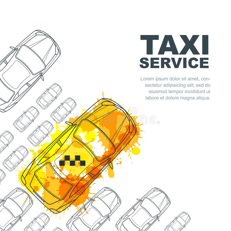 Vector taxi service banner, flyer, poster design template. Call taxi concept. Taxi yellow watercolor painted cab. Vector taxi service banner, flyer, poster royalty free illustration